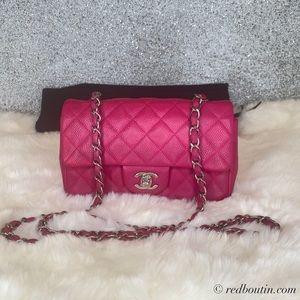 Chanel mini Flap bag  Matte Caviar Fuchsia